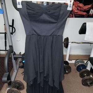 Black Sans Souci strapless high low dress